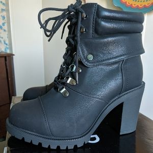 Torrid black faux leather lace up hiking boots.